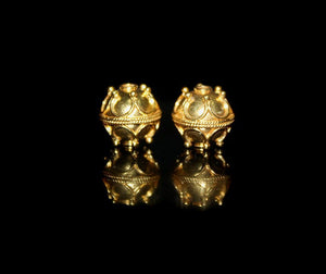 Two 10mm 22 Karat Gold Vermeil Beads