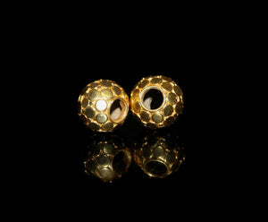 "Two 14mm Gold Vermeil ""Dots"" Beads"