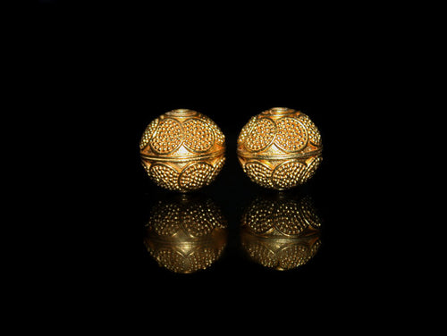 Two 12mm Gold Vemeil Beads