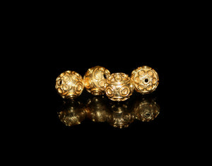 Four 9mm 22K Gold Vermeil Bali Beads