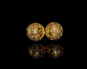Two 15mm Gold Vermeil Bali Granulation Beads