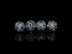 Four 9mm Sterling Silver Bali  Beads