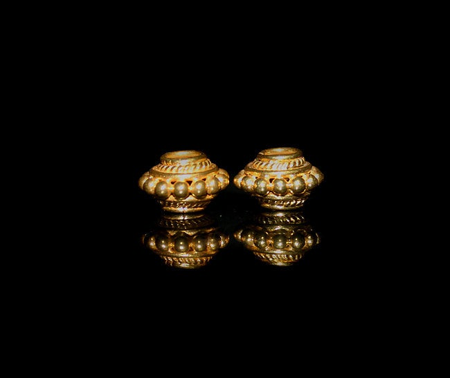 Two 12mm Gold Vermeil Discus Beads