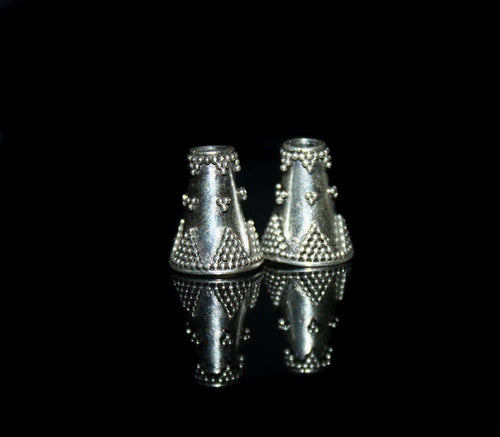Two Sterling Silver Granulation Cone Beads