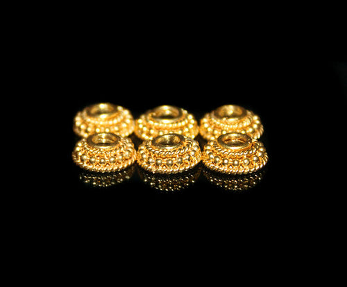 6 x 10mm Gold Vermeil Bali Bead Caps