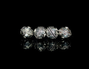 Four 9mm Sterling Silver Beads