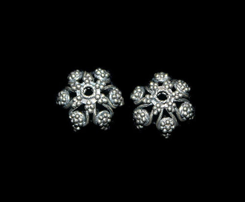 Two (2) Sterling Silver Bead Caps, 12mm