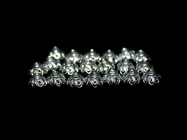 20 pcs x Sterling Silver Bead Caps, 6mm