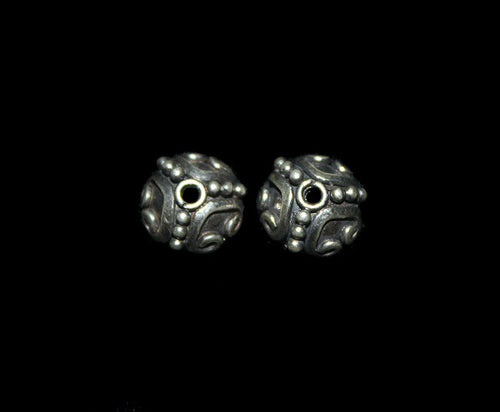 Four x Sterling Silver Bali Bead Caps, 10mm