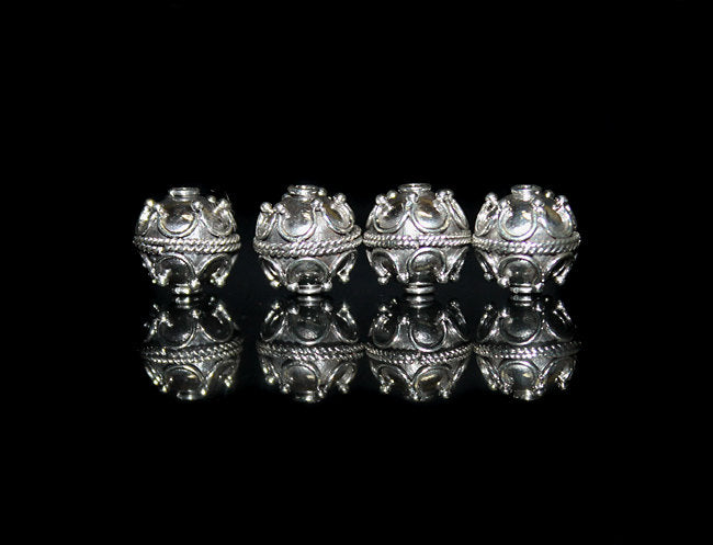 Four 10mm Sterling Silver Bali Beads