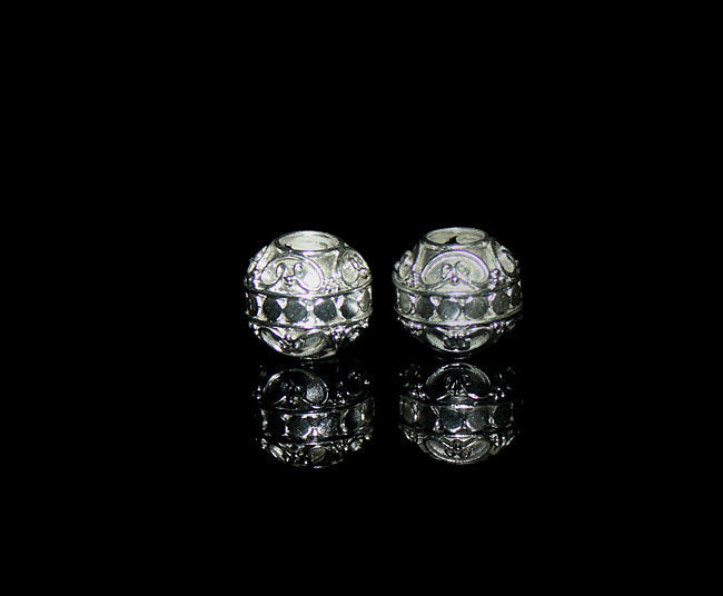 Two 12mm Shiny Sterling Silver Dots Beads