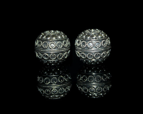 Two 16mm Sterling Silver Bali Beads