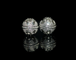 Two 13mm Sterling Silver Granulation Beads