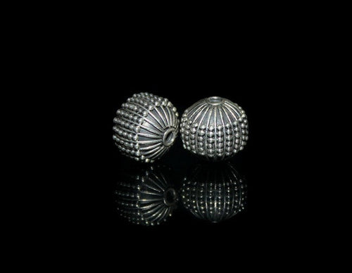 Two 14mm Sterling Silver Fluted Beads