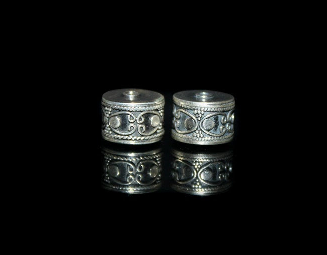 Two 12mm Sterling Silver Drum Beads