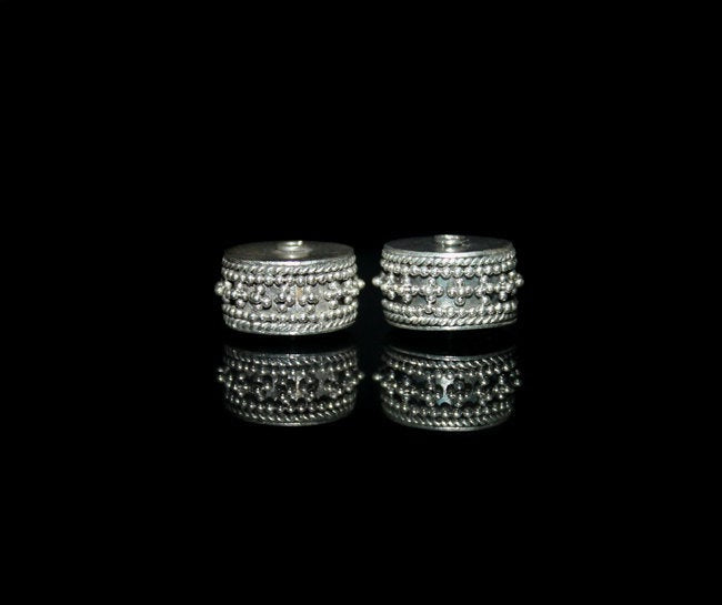 Two 13mm Sterling Silver Bali Beads