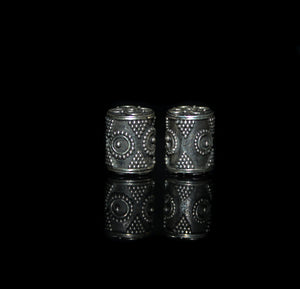 Two 14mm  Sterling Silver Drum Beads