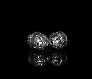 Two 13mm x 9mm Sterling Silver Bali Beads
