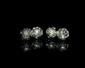 Four 8mm  Sterling Silver Beads