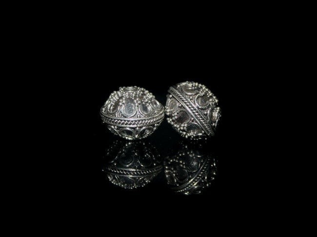 Two 12mm Sterling Silver Discus Beads