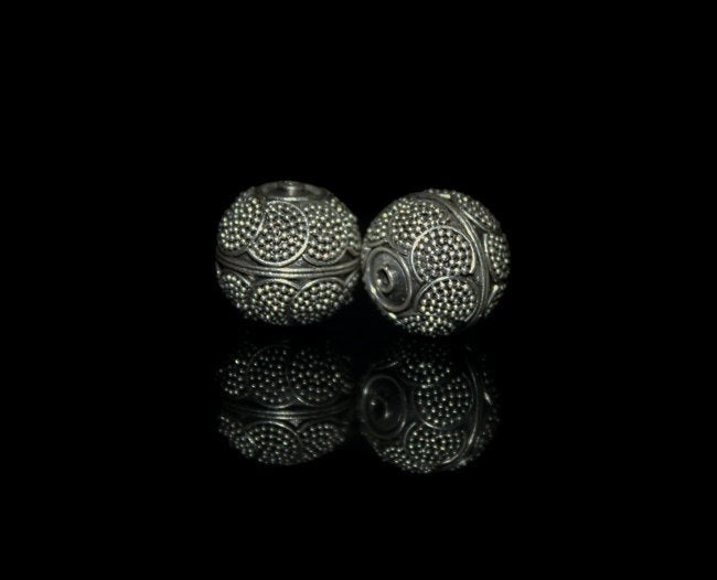 Two 12mm Sterling Silver Bali Beads,