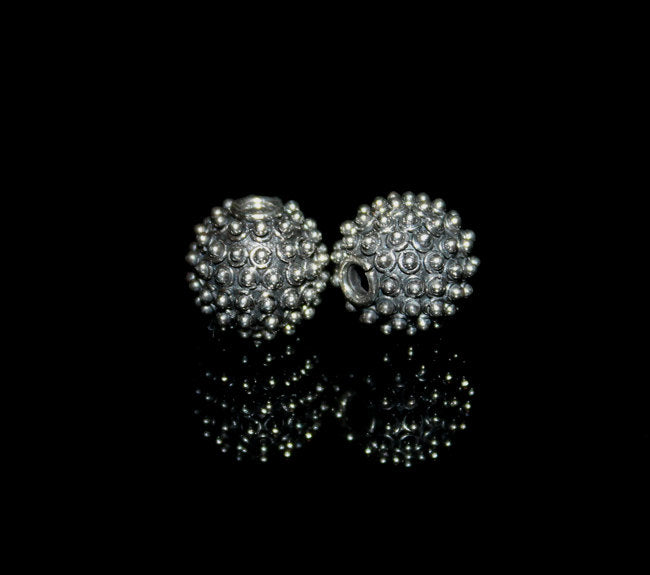 Two 12mm Sterling Silver Bali Granulation Beads