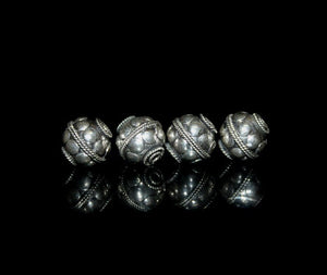 Four 10mm Sterling Silver Dots Beads