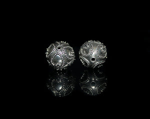 Two 12mm Sterling Silver Beads
