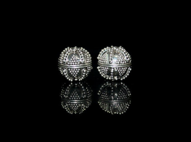 Two (2)12mm Sterling Silver Granulation Beads
