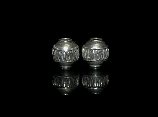 Two 14mm Sterling Silver Barrel Beads