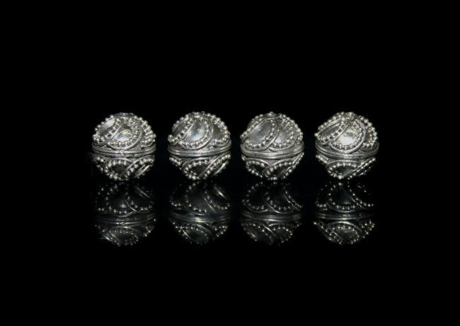 Four 10mm Sterling Silver Beads