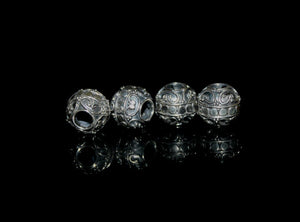 Four 10mm Large Hole Sterling Silver Bali Beads