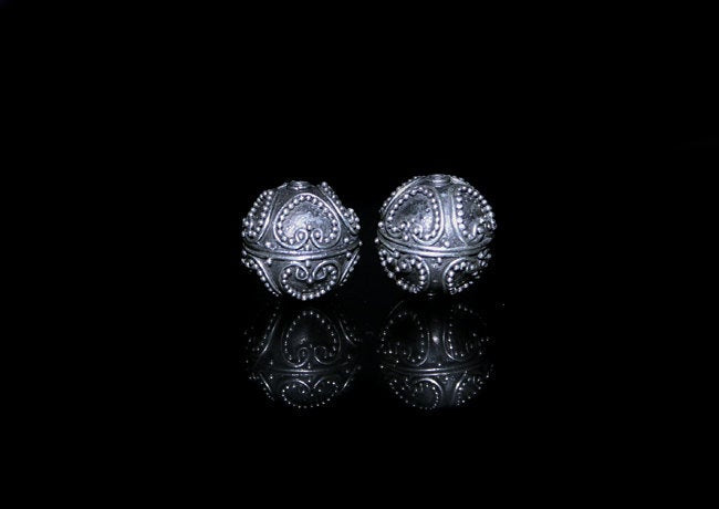 Two 13mm Sterling Silver Beads