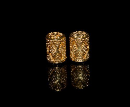 Two 15mm x 10mm Gold Vermeil Beads