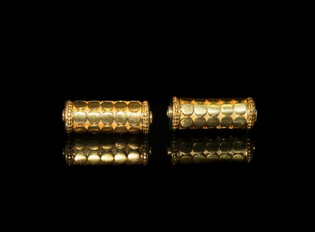 Two 19mm Gold Vermeil Tube Beads