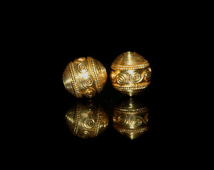 Two 12mm 22 Karat Gold Vermeil Beads