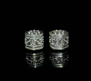 Two 12mm Sterling Silver Hexagon Beads