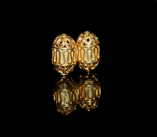 Two 16mm x 10mm Gold Vermeil Wire Work Beads