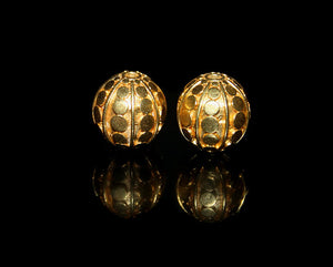 "Two 14mm 22 Karat Gold Vermeil ""Dots"" Beads"