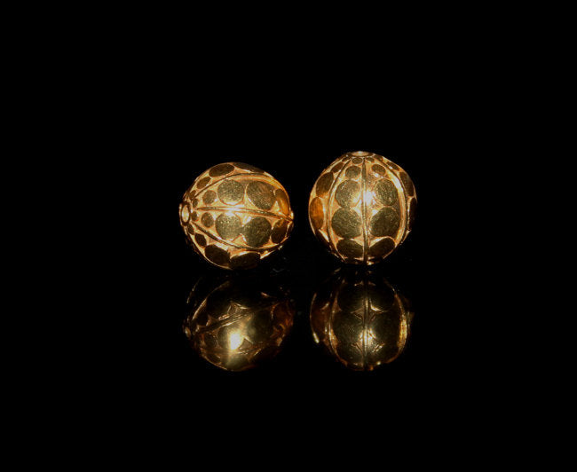 Two 10mm Gold Vermeil Beads