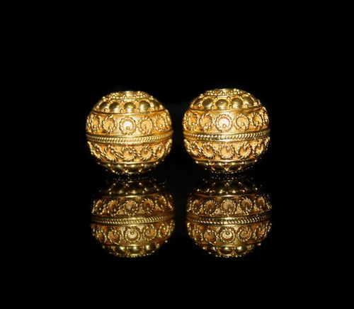 Two 15mm Gold Vermeil Wire Work Beads