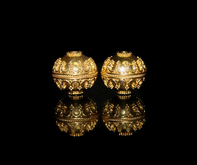 Two 14mm Gold Vermeil Beads