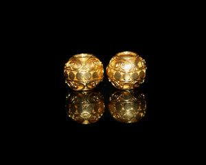 Two 10mm Large Hole Gold Vermeil Beads