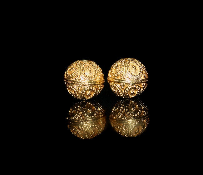 Two 9mm Gold Vermeil Granulation Beads