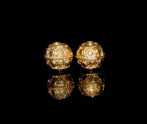 Two 8mm Gold Vermeil Beads