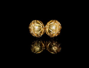 Two 14mm 22 Karat Gold Vermeil Beads
