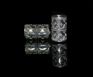 Two 17mm x 10mm Sterling Silver Bali Beads
