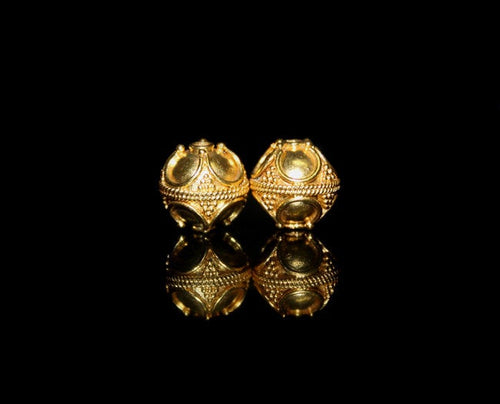 Two 11/12mm Gold Vermeil Bali Beads