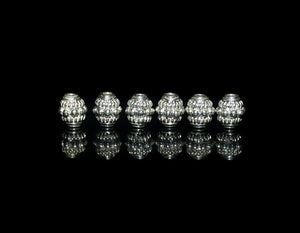 6 x 7mm Shiny Sterling Silver Barrel Beads