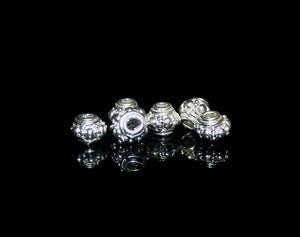 6 x 6mm Shiny Sterling Silver  Barrel Spacers Beads